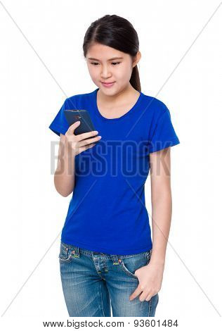 Young woman look at the cellphone