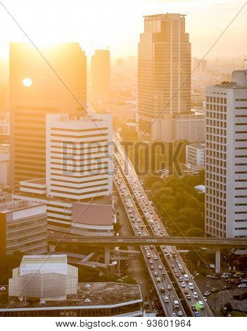 Sunset In The Bangkok City