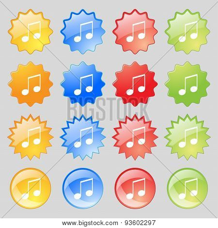 Musical Note, Music, Ringtone Icon Sign. Set From Fourteen Multi-colored Glass Buttons With Place Fo