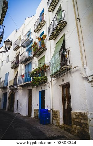 streets and architecture along the Mediterranean coastal town in Spain