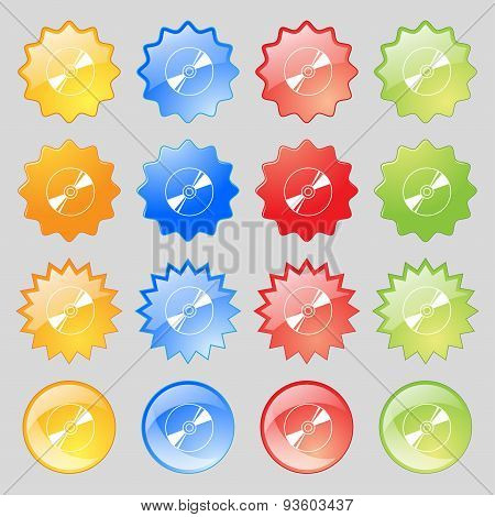 Cd, Dvd, Compact Disk, Blue Ray Icon Sign. Set From Fourteen Multi-colored Glass Buttons With Place