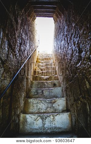 stairs, old Spanish fortress castle made of stone