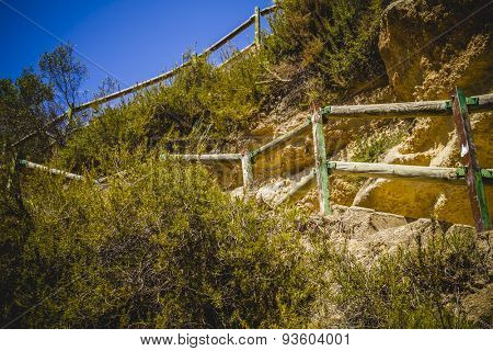 stairs, landscape with forests and natural lake in Valencia, Spain