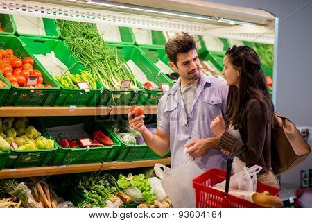 Young couple shopping in a supermarket