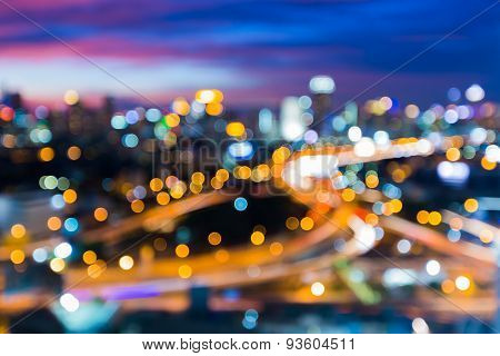 Abstract Bangkok night cityscape light blur bokeh defocused background