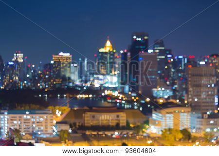 City skyline blur bokeh lights night background
