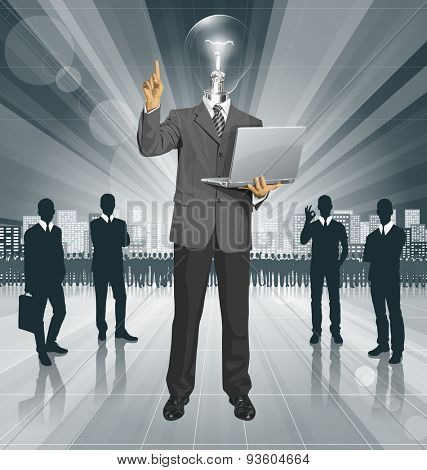 Idea concept. Vector lamp head business man shows something with his finger