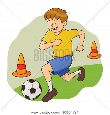 Boy Doing Soccer Practice