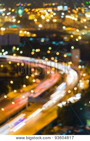 Blur light of City road curve during twilight
