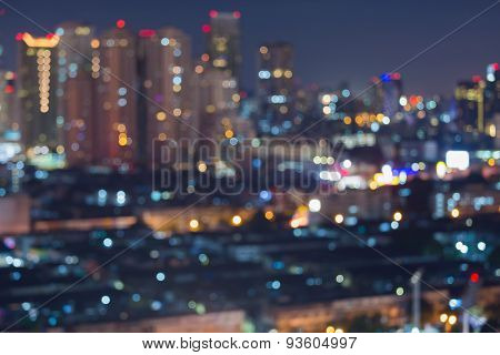 Abstract blur bokeh cityscape lights, defocused background