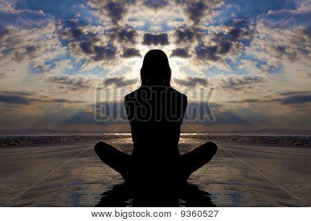 Silhouette yoga pose.