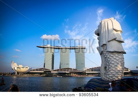 Merlion and Marina Bay