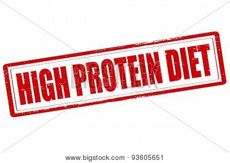 Rubber stamp with text high protein diet inside vector illustration