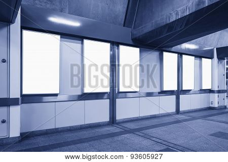 Blank Vertical Big Neon Box Poster Template Sign In Subway Station