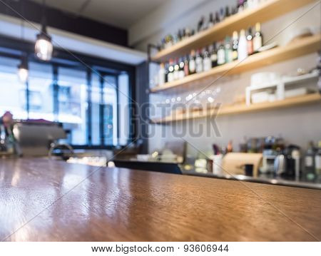Table Top With Kitchen Cafe Bar Shelf With Bottle