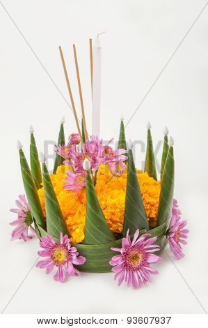 Krathong, The Hand Crafted Floating Candle Made Of Floating Part Decorated With Green Leaves
