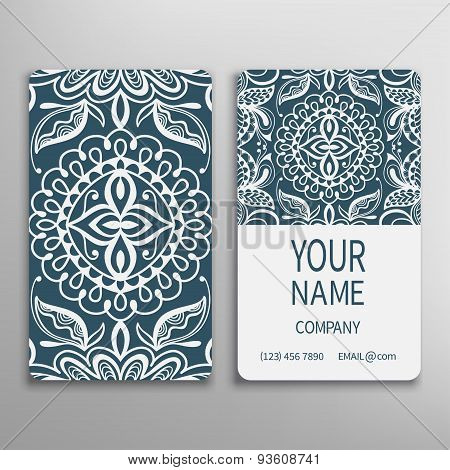 Business card, decorative ornamental invitation collection. Hand drawn Islam, Arabic, Indian, lace p
