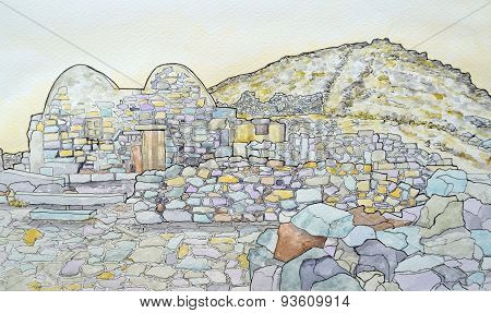 Ink and watercolour of the byzantine chapel at ancient Thira