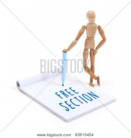 Wooden Mannequin Writing In Scrapbook - Free Section