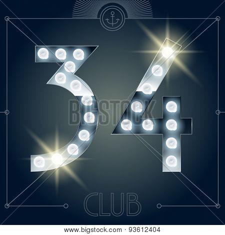 Futuristic vector lamp alphabet on glossy mirror background. Numbers 3 4