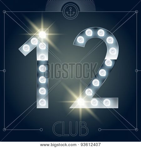 Futuristic vector lamp alphabet on glossy mirror background. Numbers 1 2