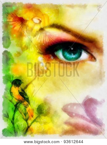 Blue Goddness Women Eye With Birds On Multicolor Aquarel Background. Eye Contact.