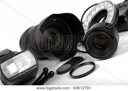 Professional Photo Equipment On White Background