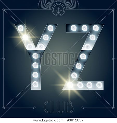 Futuristic vector lamp alphabet on glossy mirror background. Letters Y Z