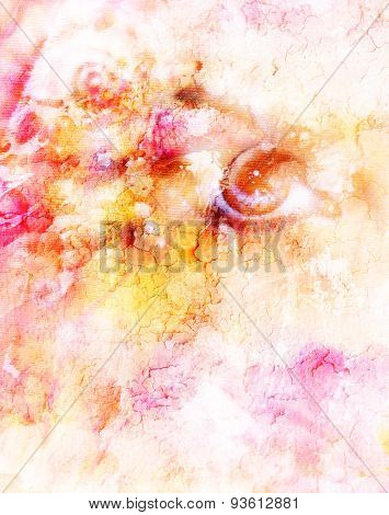 Women Eyes Beaming Up Enchanting  Abstract Background.