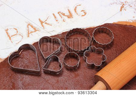 Word Baking Written In Flour And Dough For Cookies
