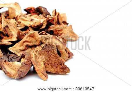 Heap Of Dried Mushrooms With Copy Space For Text
