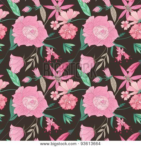 Summer Floral Pattern on Brown Background