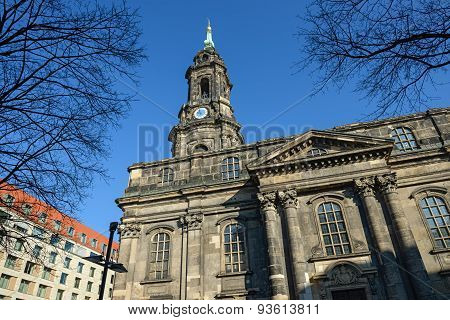 Exterior Of Kreuzkirche In Dresden, Saxony, Germany.