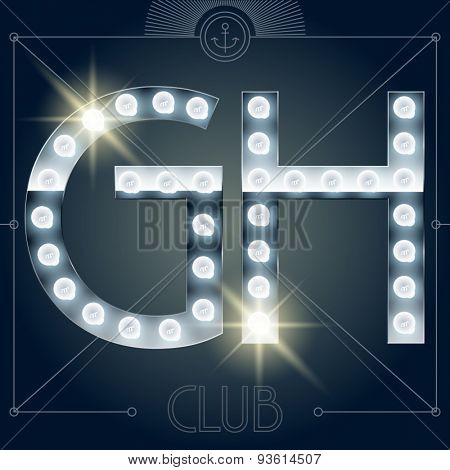 Futuristic vector lamp alphabet on glossy mirror background. Letters G H
