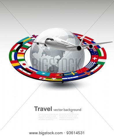 Travel background. Globe with a plane and a strip of flags. Vector.