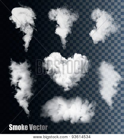 Nature Smoke Vectors On Transparent Background.