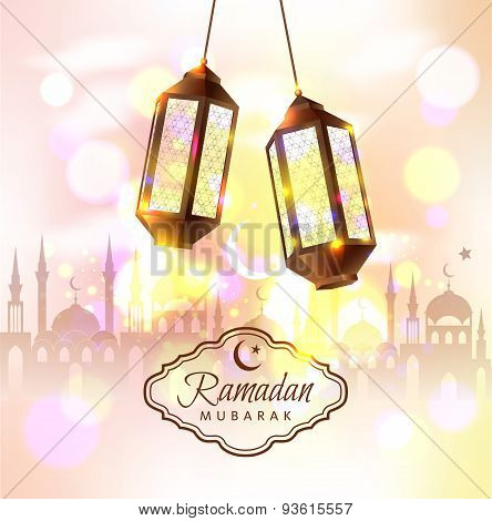 Ramadan Mubarak Vector Illustration With 3D Lamps.
