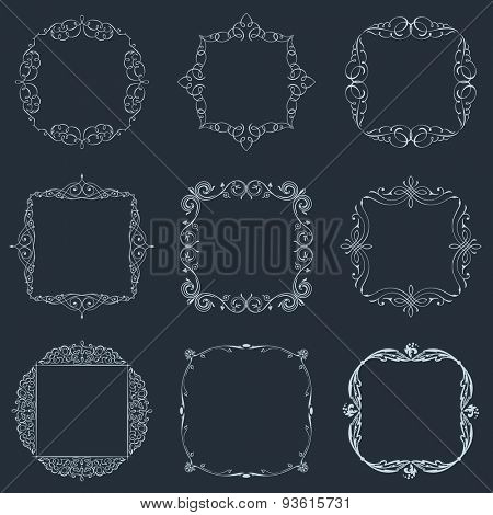 Calligraphic frames set and page decoration ornament. Vector vintage illustration elegant