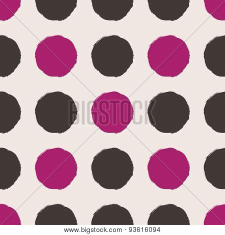 Vector seamless pattern. Abstract background with round brush strokes. Simple hand drawn texture with red and black circles