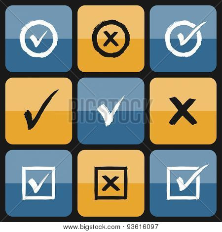 Vector check box Set of hand drawn Icons. Ticks and Crosses Represents Confirmation, Right and Wrong Choices