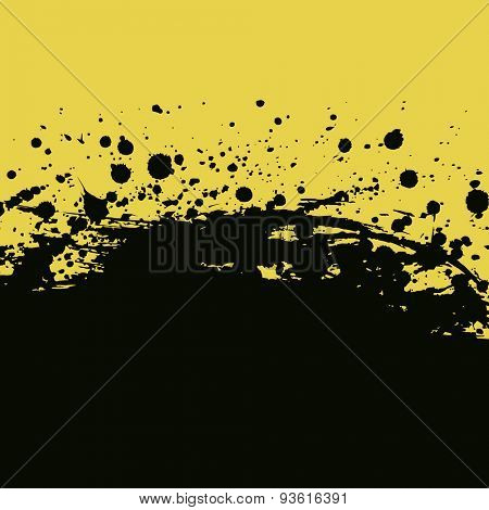 Splashes and drops background. Yellow and black banner vector illustration