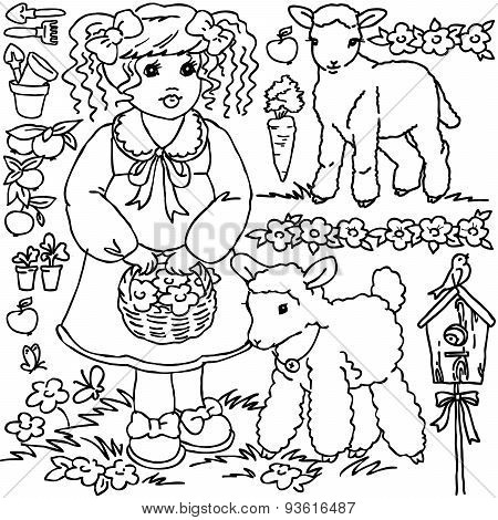 Coloring book, Cartoon farm girl