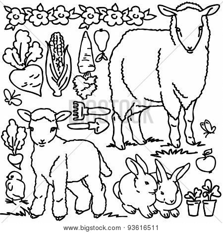 Coloring book, Cartoon farm animals