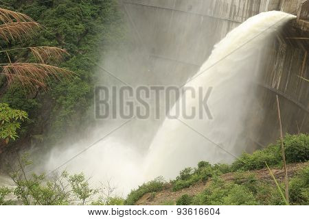 closeup of dam discharge flood water china