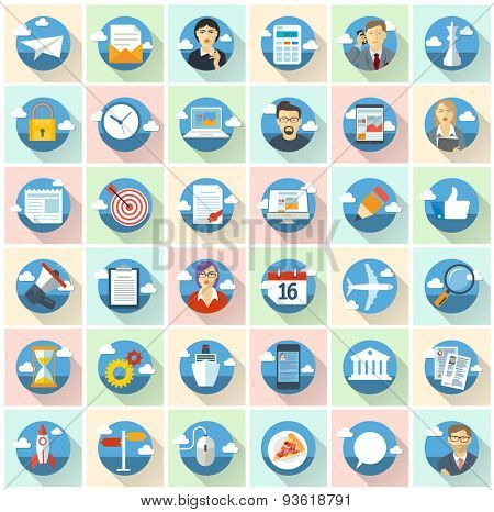 Business vector icons. Flat design vector set.
