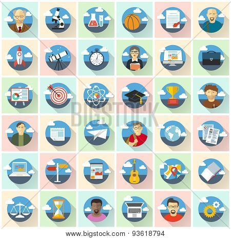 Education vector icons. Flat design vector set.