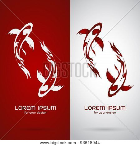 Vector Image Of An Carp Koi Design On White Background And Red Background, Logo, Symbol