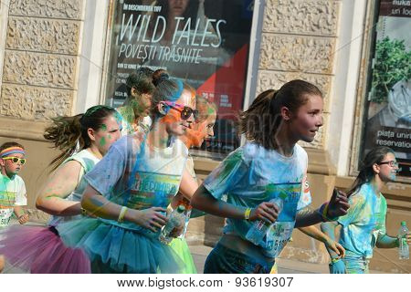 Group Of Painted Girls Running