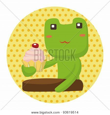 Animal Frog Having Afternoon Tea Theme Elements