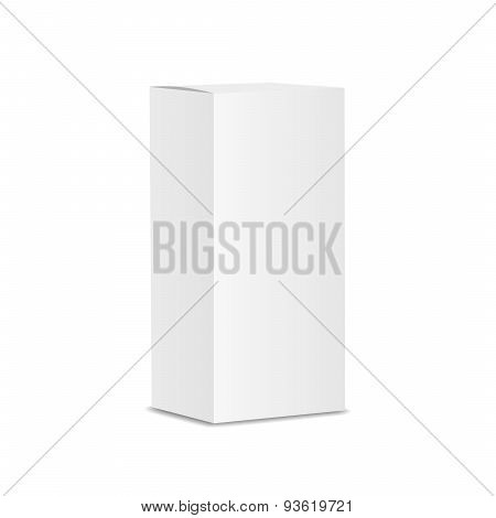 Blank vertical paper or cardboard box template standing on white background Isolated. Vector illustr